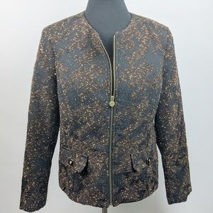 DANA BUCHMAN Tweed Gold Zip Jacket Blazer